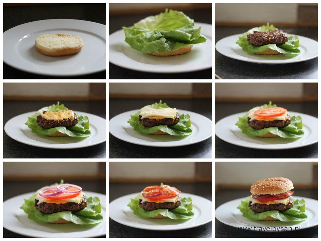 Opbouw van Amerikaanse hamburger